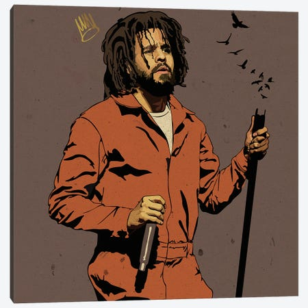 J Cole Canvas Print #DCA221} by Dai Chris Art Canvas Artwork