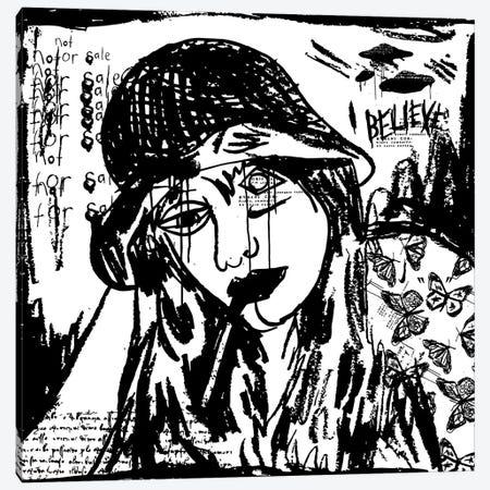 Girl Smoking A Cigarette B&W Canvas Print #DCA230} by Dai Chris Art Canvas Print