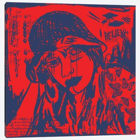 Girl Smoking A Cigarette Blue On Red Canvas Print #DCA231} by Dai Chris Art Art Print