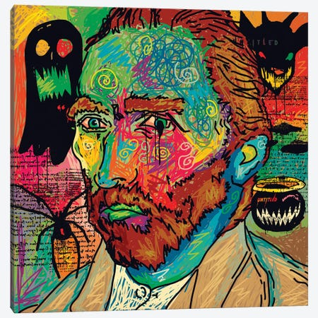 Van Gogh Spooky Version Canvas Print #DCA232} by Dai Chris Art Canvas Print