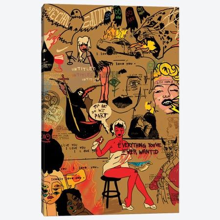 Pop Doodles (Tan) Canvas Print #DCA248} by Dai Chris Art Canvas Wall Art