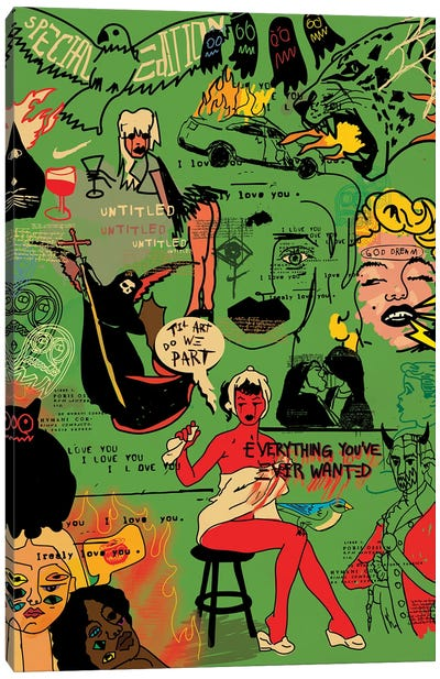 Pop Doodles (Green) Canvas Art Print