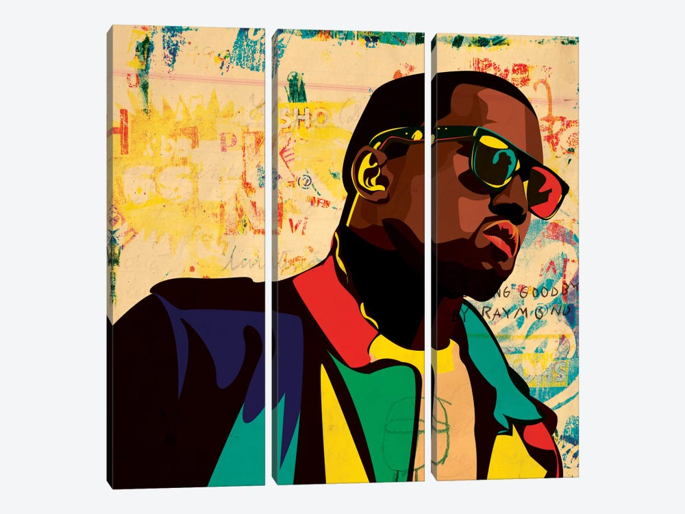 Kanye by Dai Chris Art 3-piece Canvas Art Print
