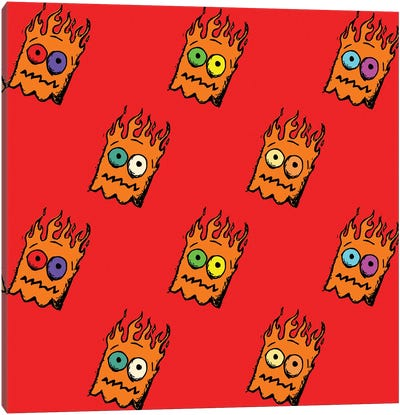 Ghost Flame Pattern Canvas Art Print