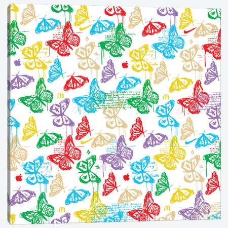 Butterfly Icon Pattern (Colorful White) Canvas Print #DCA263} by Dai Chris Art Canvas Wall Art