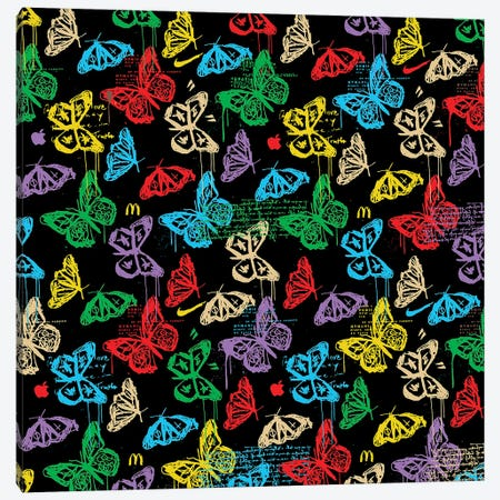 Butterfly Icon Pattern (Colorful Black) Canvas Print #DCA264} by Dai Chris Art Canvas Print