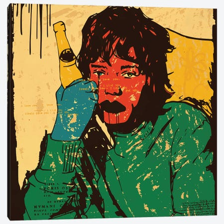 Mick Jagger Rolling Stones Canvas Print #DCA277} by Dai Chris Art Canvas Wall Art