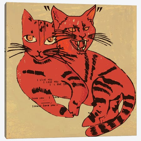 Two Moods Two Cats Canvas Print #DCA283} by Dai Chris Art Canvas Artwork