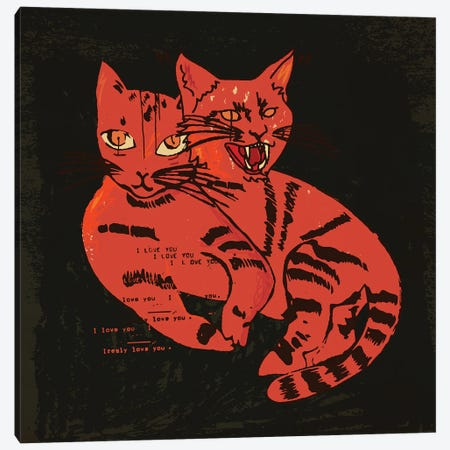 1 Cat 2 Vibes Canvas Print #DCA284} by Dai Chris Art Canvas Print