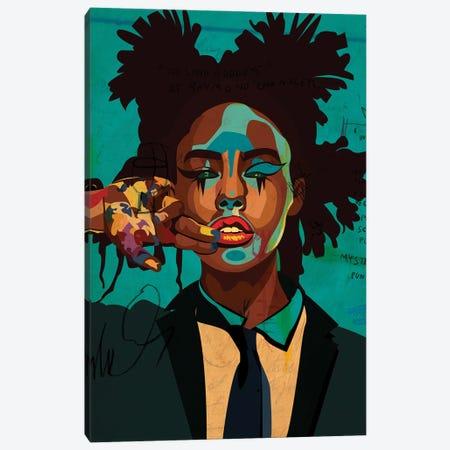 Painter Girl Blue Edition Canvas Print #DCA311} by Dai Chris Art Canvas Wall Art