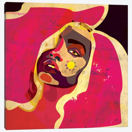 Playful Colors Girl Canvas Print #DCA35} by Dai Chris Art Canvas Artwork