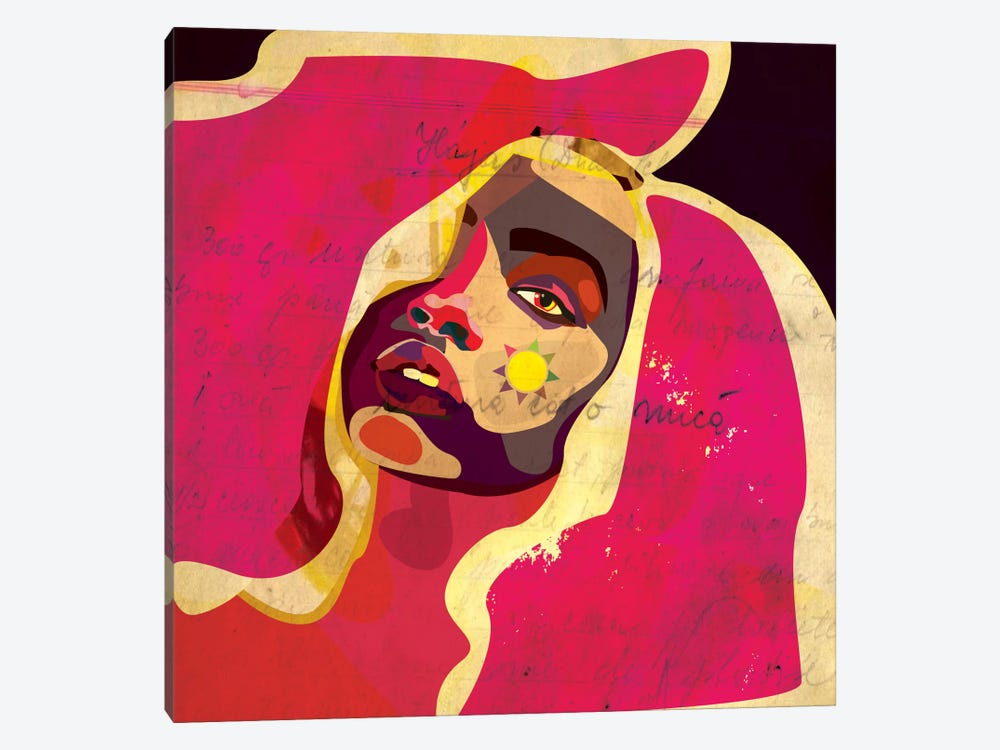 Playful Colors Girl by Dai Chris Art 1-piece Canvas Wall Art