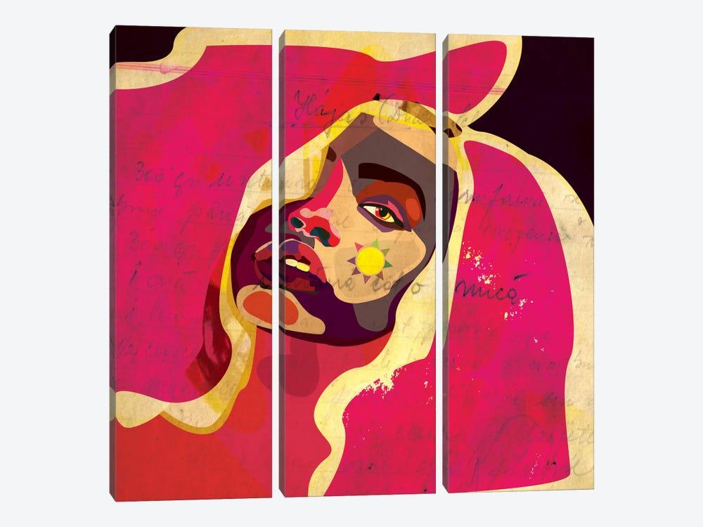 Playful Colors Girl by Dai Chris Art 3-piece Canvas Wall Art