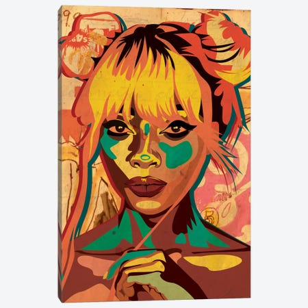 Pop Art Buns Girl Canvas Print #DCA36} by Dai Chris Art Canvas Artwork