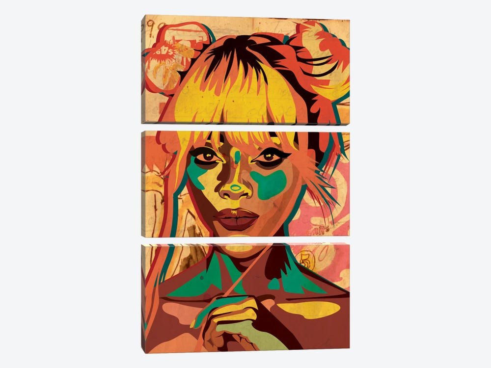 Pop Art Buns Girl by Dai Chris Art 3-piece Canvas Art Print