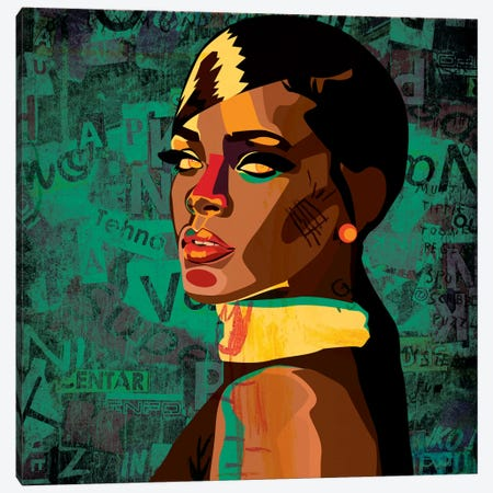 Rihanna I Canvas Print #DCA37} by Dai Chris Art Canvas Artwork