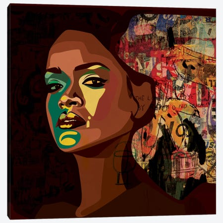 Rihanna II Canvas Print #DCA38} by Dai Chris Art Canvas Print