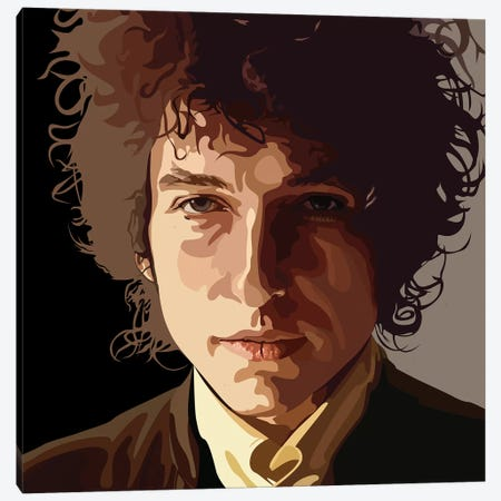 Bob Dylan Canvas Print #DCA53} by Dai Chris Art Canvas Print