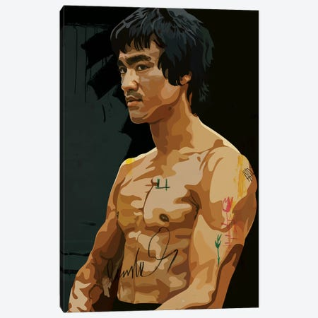 Bruce Lee Canvas Print #DCA55} by Dai Chris Art Canvas Wall Art