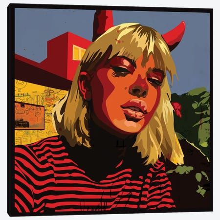Devil Blonde Girl Canvas Print #DCA57} by Dai Chris Art Canvas Art