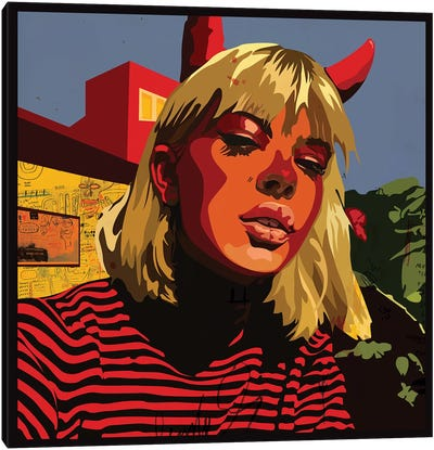 Devil Blonde Girl Canvas Art Print