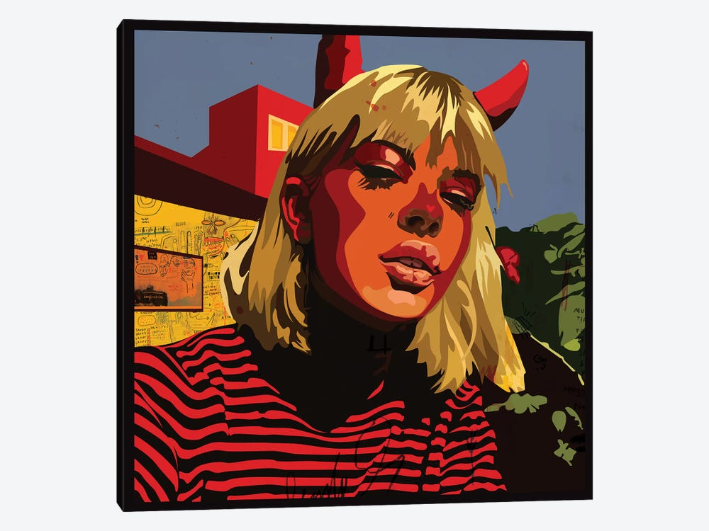Devil Blonde Girl by Dai Chris Art 1-piece Canvas Art