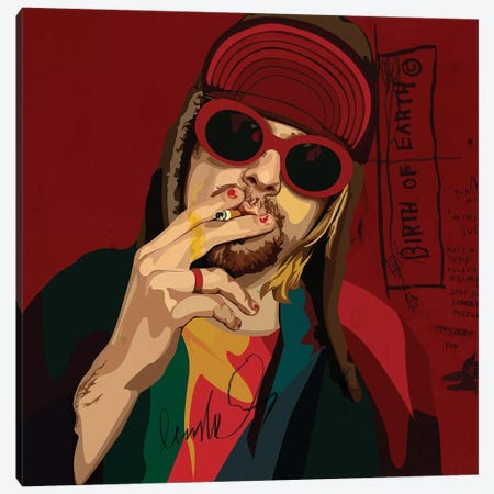 Kurt Cobain Canvas Print #DCA61} by Dai Chris Art Canvas Art