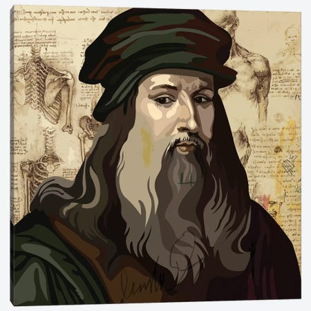 Leonardo da Vinci Canvas Print #DCA62} by Dai Chris Art Canvas Artwork