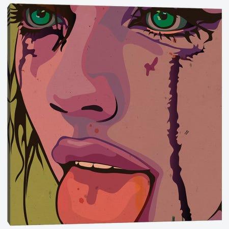 Maskara Girl, Tongue Out Canvas Print #DCA82} by Dai Chris Art Canvas Wall Art