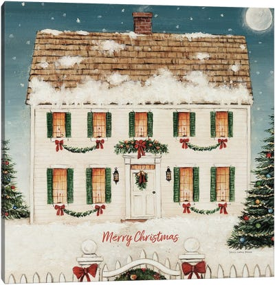 Merry Lil House Square - Merry Christmas Canvas Art Print