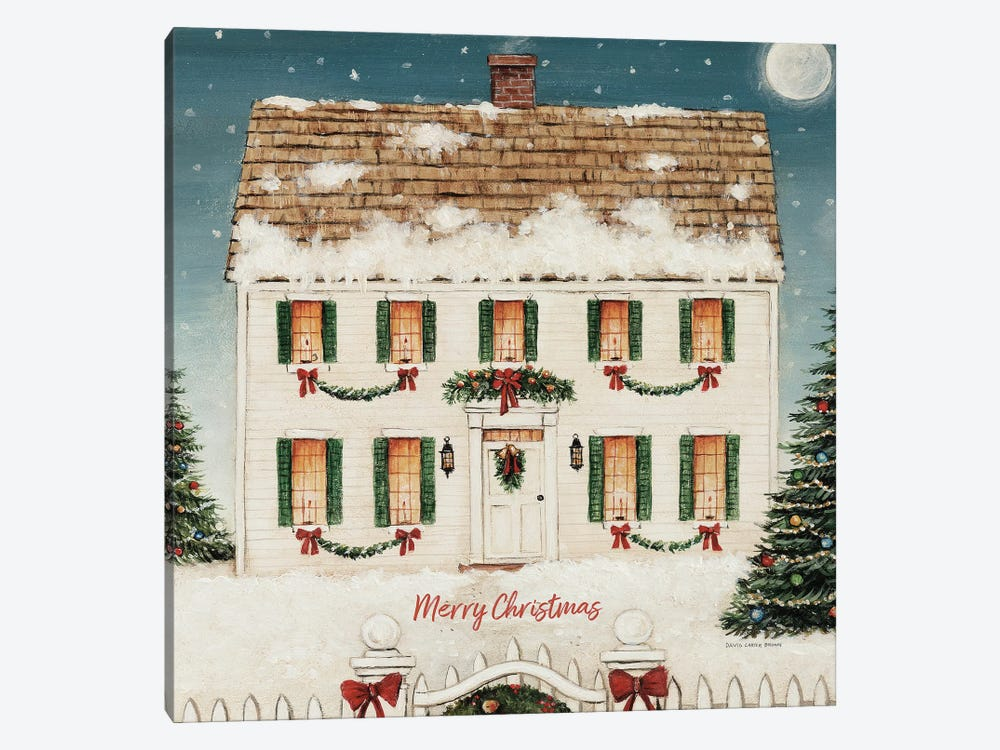 Merry Lil House Square - Merry Christmas by David Carter Brown 1-piece Canvas Wall Art