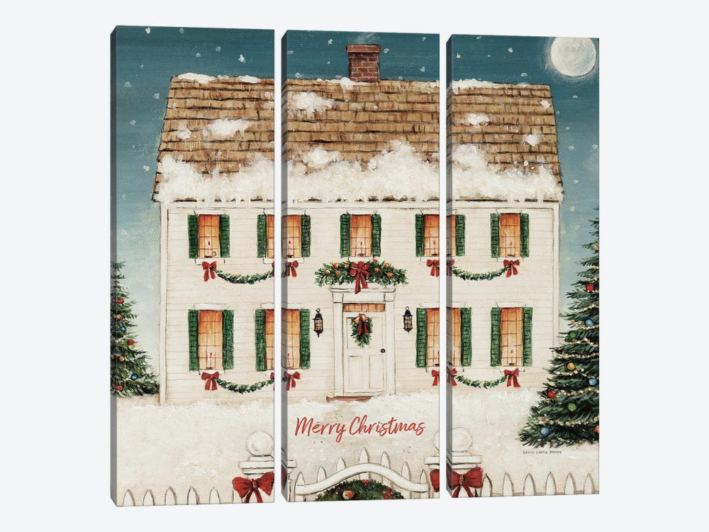 Merry Lil House Square - Merry Christmas by David Carter Brown 3-piece Canvas Artwork