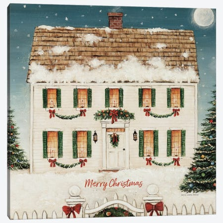 Merry Lil House Sq Merry Christmas Canvas Print #DCB4} by David Carter Brown Canvas Art