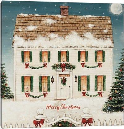 Merry Lil House Sq Merry Christmas Canvas Art Print