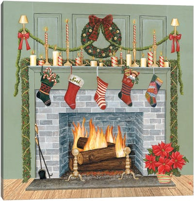 Home for the Holidays I Gray Canvas Art Print