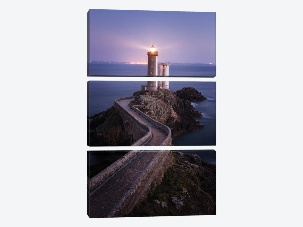 Brittany, Phare du Petit Minou II by David Clapp Photography Limited 3-piece Canvas Art Print