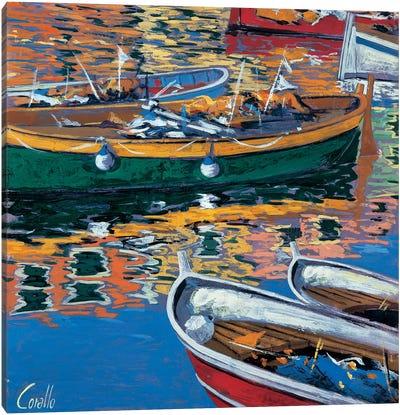 Riflessi nel porto Canvas Art Print