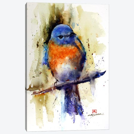 Bird on the Sprig Canvas Print #DCR10} by Dean Crouser Canvas Art