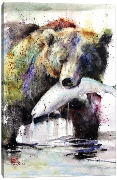 Brown Bear and Salmon Canvas Art Print