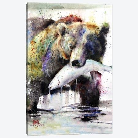 Brown Bear and Salmon Canvas Print #DCR125} by Dean Crouser Canvas Print