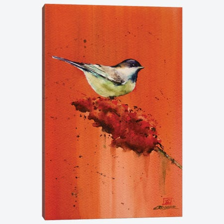 Chickadee on Butterfly Bush Canvas Print #DCR127} by Dean Crouser Canvas Art Print