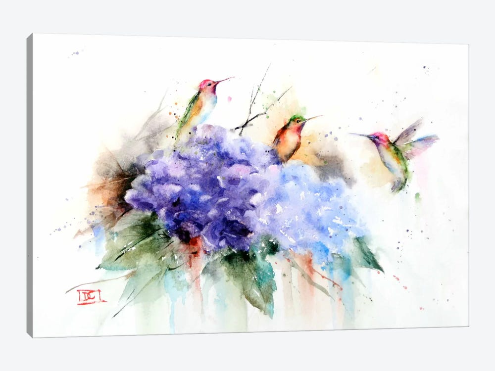 Three Hummingbirds by Dean Crouser 1-piece Canvas Wall Art