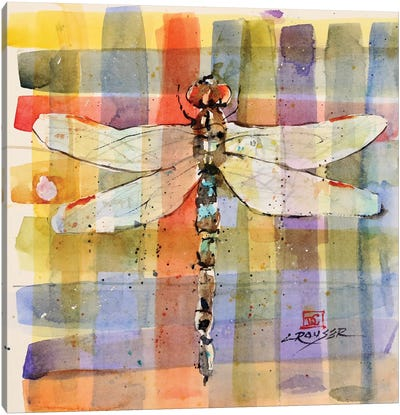 Plaid Dragonfly Canvas Art Print