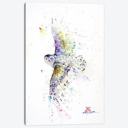 Snowy in Flight Canvas Print #DCR140} by Dean Crouser Canvas Art