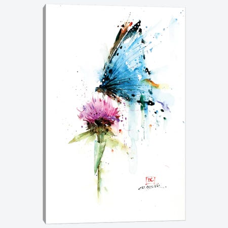 Butterfly & Thistle Canvas Print #DCR150} by Dean Crouser Art Print