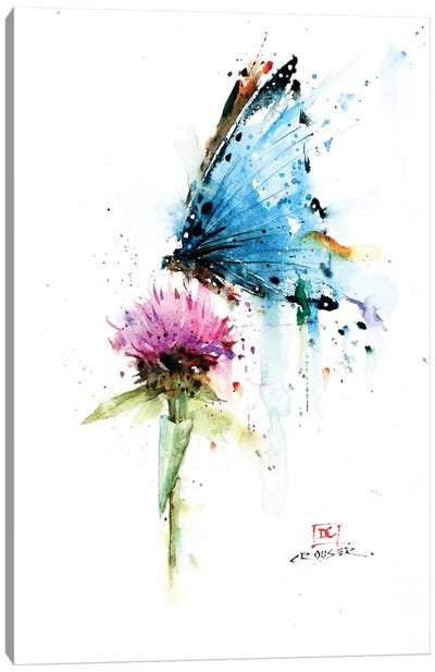 Butterfly & Thistle Canvas Art Print