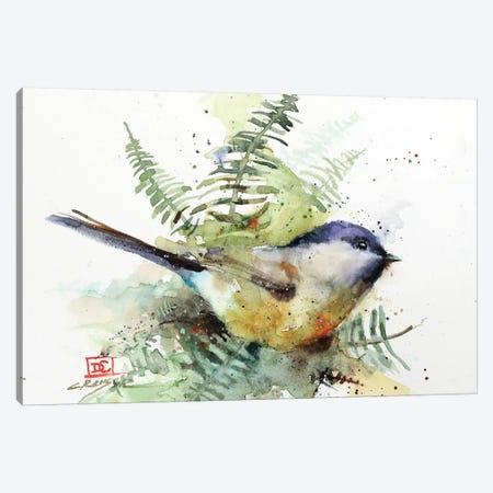 Chickadee & Ferns Canvas Print #DCR153} by Dean Crouser Canvas Print