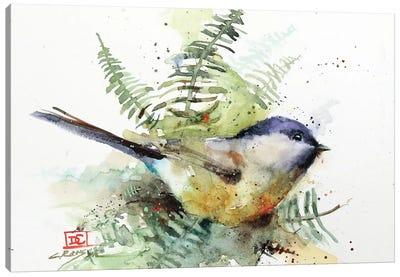 Chickadee & Ferns Canvas Art Print