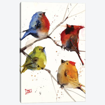 Four Songbirds Canvas Print #DCR162} by Dean Crouser Canvas Art