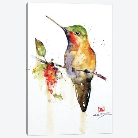 Hummingbird On Branch Canvas Print #DCR165} by Dean Crouser Canvas Art Print